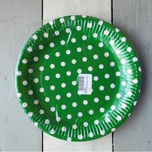 Dark Green Dotted Paper Plates (10)