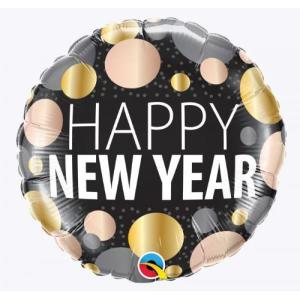 Happy New Year Metallic Dots Foil Balloon 18 inch