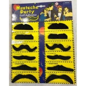 Moustaches Assorted x 12 on card