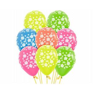 Luau Hawaii Neon Latex Balloons (5)