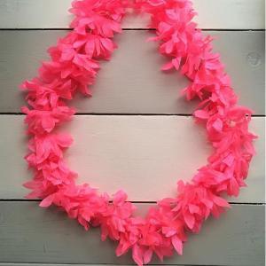 Luau Flower Garland Neon Pink