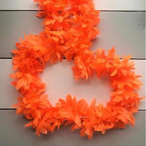 Luau Flower Garland Neon Orange