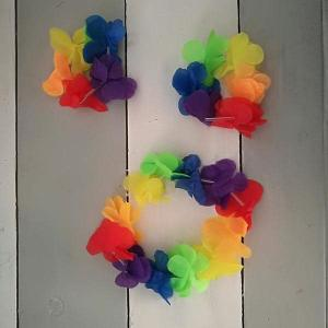 Luau Flower Head and Wristbands ( 3 piece)