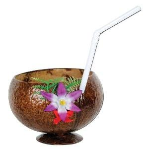 Luau Coconut Cup (real) with flower and straw