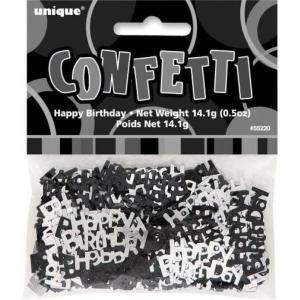 Happy Birthday Glitz confetti Black and Silver