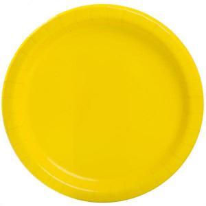 Neon Yellow Paper Plates Small (20)