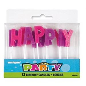 Pink and Purple Happy Birthday Letter Candles