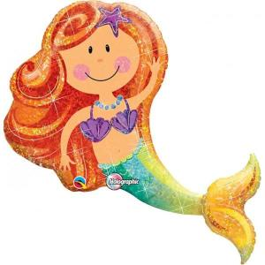 Mermaid Holographic Supershape Balloon 38 inch