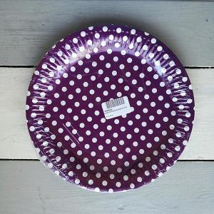 Violet Dotted Paper Plates (10)