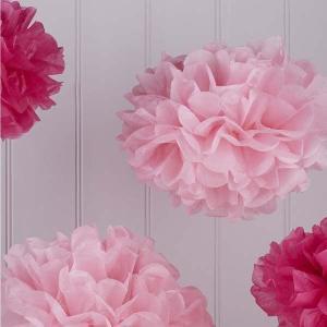 Vintage Lace Tissue Paper Pom Poms Pink Shades (5)