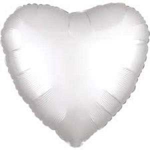 Satin Luxe White Satin Heart Foil Balloon 18inch