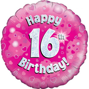 Pink Happy Birthday Foil Balloon 16th