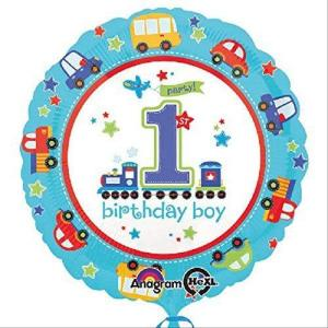 1st Birthday Boy All Aboard Balloon 18 inch