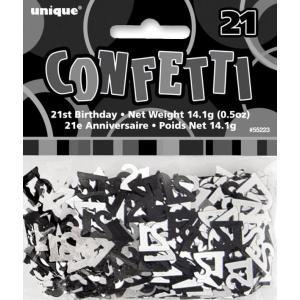 Age 21 Glitz confetti Black and Silver