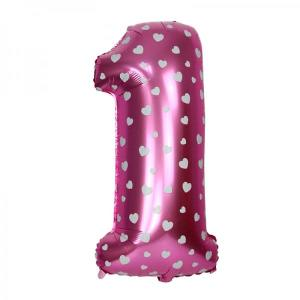 Pink 1st birthday foil balloon with small white heart print 40 inch
