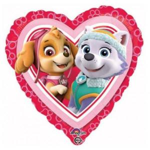 Pink Paw Patrol Skye and Everest HEART Balloon