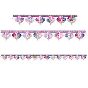 Shimmer and Shine Glitter Friends Happy Birthday Banner