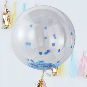 Pick & Mix - Blue Confetti Orb Balloons (3)