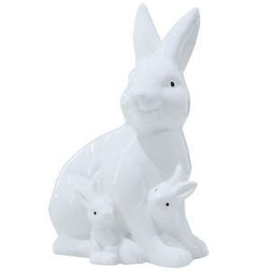 White Ceramic Bunny with Babies