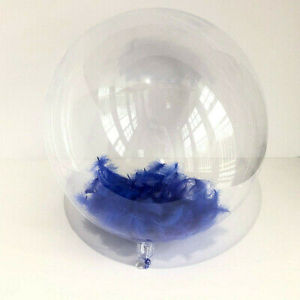 PVC Balloon with Royal Blue Feathers
