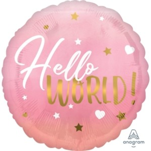 Hello World Pink Baby Girl 18 inch Foil Balloon