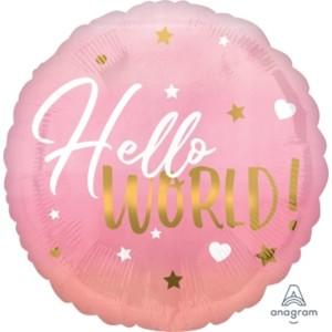 Hello World Pink Baby Girl 18 inch Foil Balloon