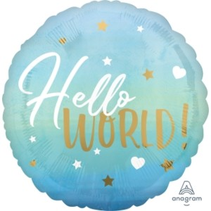 Hello World Blue Baby Boy 18 inch Foil Balloon