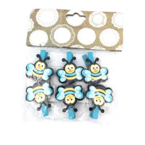 Bee Pegs Blue (6)