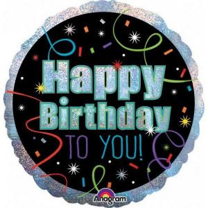 Holographic Brilliant Birthday 18 inch Foil Balloon