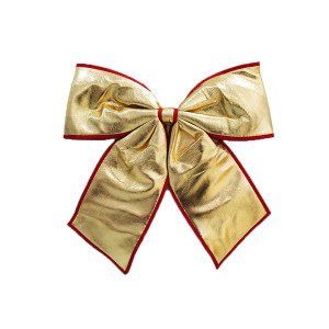 Big Gold Material Bow with Red Trim