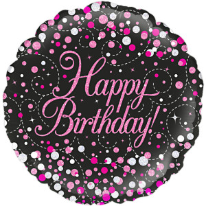 Pink and Black Fizz Happy Birthday Foil Balloon 18 inch