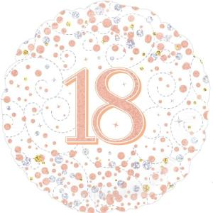 Sparkling Rose Gold 18 inch Foil Balloon 18th Birthday