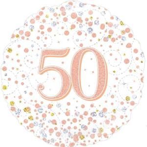 Sparkling Rose Gold 18 inch Foil Balloon 50th Birthday