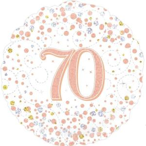 Sparkling Rose Gold 18 inch Foil Balloon 70th Birthday