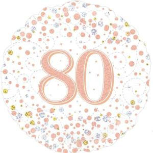 Sparkling Rose Gold 18 inch Foil Balloon 80th Birthday