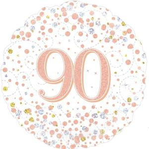 Sparkling Rose Gold 18 inch Foil Balloon 90th Birthday