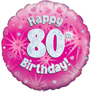 Pink Happy Birthday Foil Balloon 80th