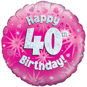 Pink Happy Birthday Foil Balloon 40th