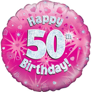 Pink Happy Birthday Foil Balloon 50th
