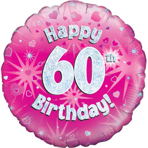 Pink Happy Birthday Foil Balloon 60th