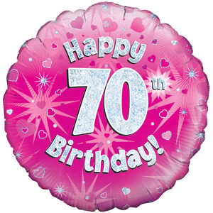 Pink Happy Birthday Foil Balloon 70th