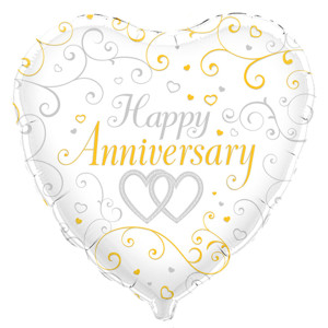 Linked Hearts Anniversary Foil Balloon 18 inch
