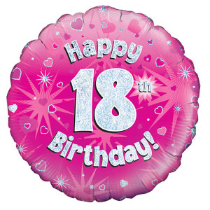 Pink Happy Birthday Foil Balloon 18th