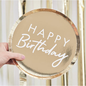Mix It Up Gold Foiled Happy Birthday Plates (8)