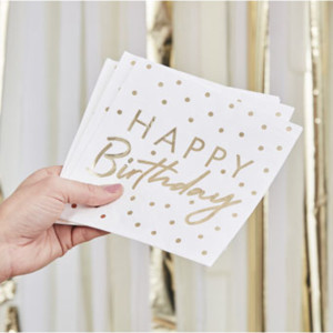 Mix It Up  Gold Happy Birthday Paper Napkins (16)
