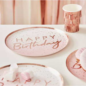 Mix it Up Ombre Pink Happy Birthday Plates (8)