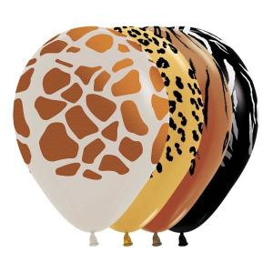 Metallic Animal Print Latex Balloons assorted (5)