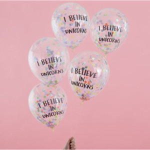 Pastel Party - I Believe In Unicorns Confetti Balloons (5)