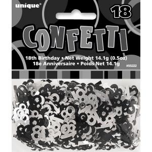 Age 18 Glitz Confetti Black and Silver