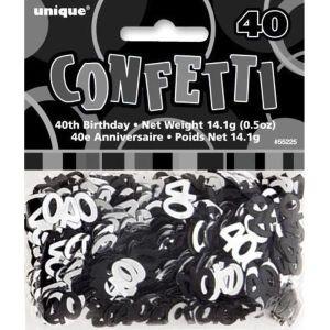 Age 40 Glitz Confetti Black and Silver